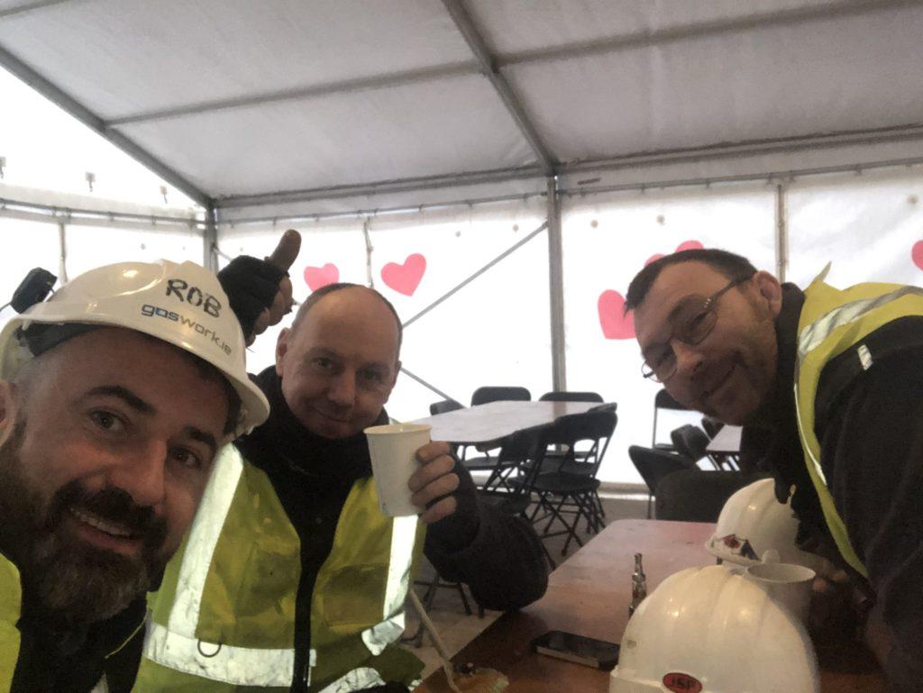 Rob O'Grady, Brendan Enright and John Dunworth having a well deserved coffee break