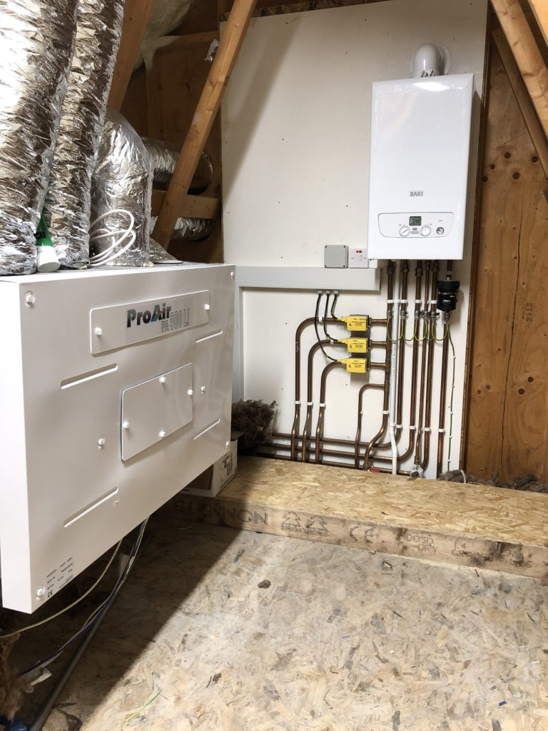 The finished product, 30KW Baxi 630 combi boiler fitted with three zones voice and remote activated.  Out of view is a 300lte multi boost water tank giving up to 5 bar pressure, plenty of water to keep up with demand